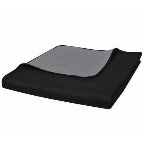 Couvre-lits à double côtés Noir/Gris 170 x 210 cm