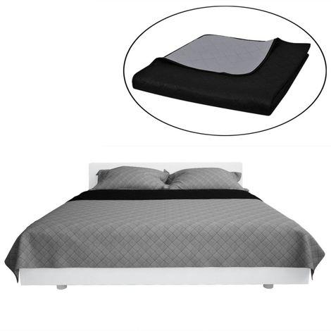 Couvre-lits a double cotes Noir/Gris 220 x 240 cm