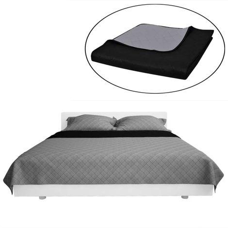 Couvre-lits a double cotes Noir/Gris 230 x 260 cm