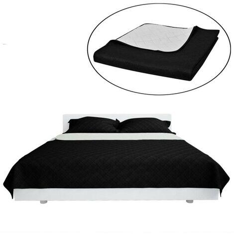 Couvre-lits à double c?tés Noir/Blanc 170 x 210 cm HDV00523