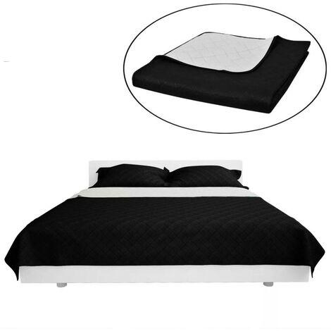 Couvre-lits à double c?tés Noir/Blanc 230 x 260 cm HDV00525