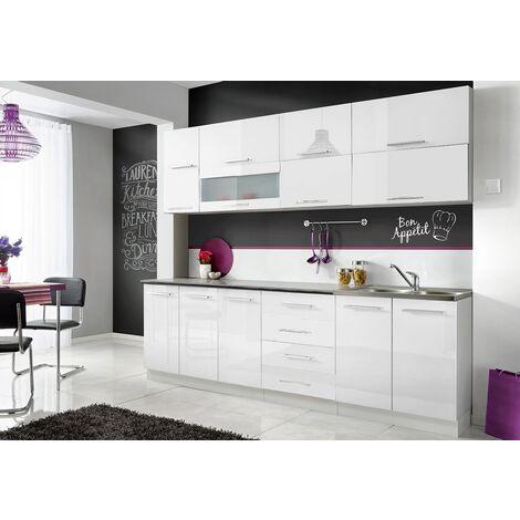 76L x 40l x 183H cm panneaux particules MDF blanc grand tiroir dim Armoire de cuisine contemporaine multi-rangements 4 portes