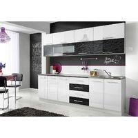 COVE N | Cuisine Complète L 260 cm | 8 pcs + Plan de travail INCLUS | Ensemble meubles de cuisine | Armoires cuisine linéaire | Blanc/Noir