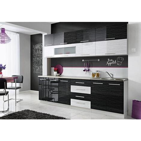 COVE N   Cuisine Complète L 260 cm 8 pcs + Plan de travail INCLUS   Ensemble meubles de cuisine   Armoires cuisine linéaire - Noir/Blanc