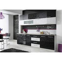 COVE N | Cuisine Complète L 260 cm 8 pcs + Plan de travail INCLUS | Ensemble meubles de cuisine | Armoires cuisine linéaire | Noir/Blanc