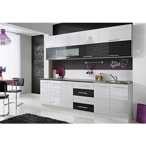 COVE N | Cuisine Complète L 260 cm | 8pcs + Plan de travail INCLUS | Ensemble meubles de cuisine | Armoires cuisine linéaire - Blanc/Noir