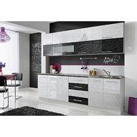 COVE N | Cuisine Complète L 260 cm | 8pcs + Plan de travail INCLUS | Ensemble meubles de cuisine | Armoires cuisine linéaire | Blanc/Noir