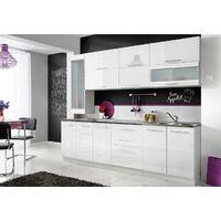 COVE S | Cuisine Complète 8pcs L 260 cm avec Plan de travail INCLUS | Ensemble meubles de cuisine | Armoires cuisine linéaire | Blanc