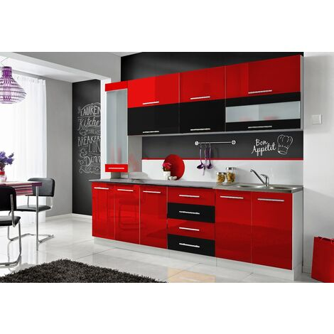 COVE S | Cuisine Complète L 260 cm 8pcs + Plan de travail INCLUS | Ensemble meubles cuisine tendance | Armoires cuisine linéaire - Rouge/Noir