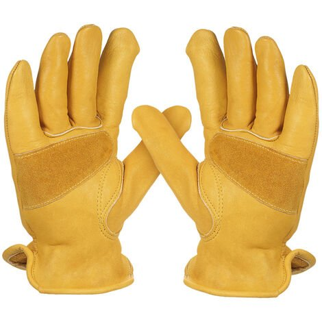 Cowhide Gloves, Non-Slip, With Elastic Wrist, L