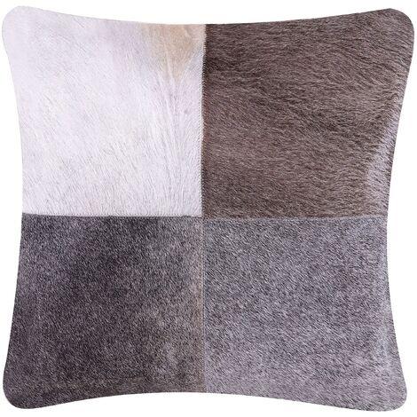 Cowhide Leather Cushion 45 x 45 cm Grey NELLAD