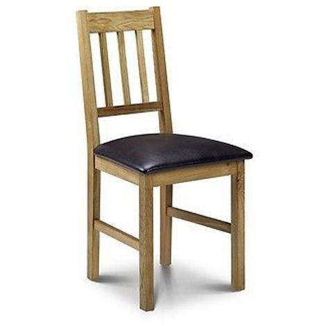 Coxmoor Oak Dining Chair Comfortable Padded Seat Brown Leather