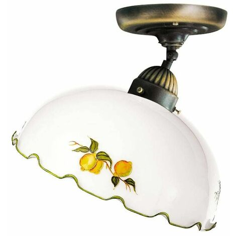 Cozy style NONNA antique brass ceiling light 1 bulb in matt glass