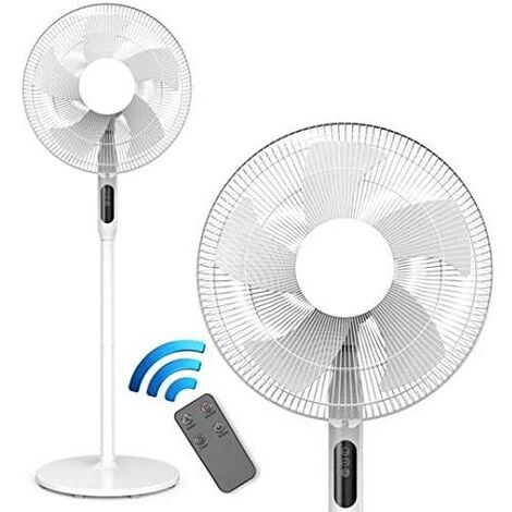 Cozytek White 14inch Oscillating Pedestal Standing Fan, Remote Control & Timer 1 – 18Hrs, 50W White, 3 Speed, Adjustable Stand 67-129cm