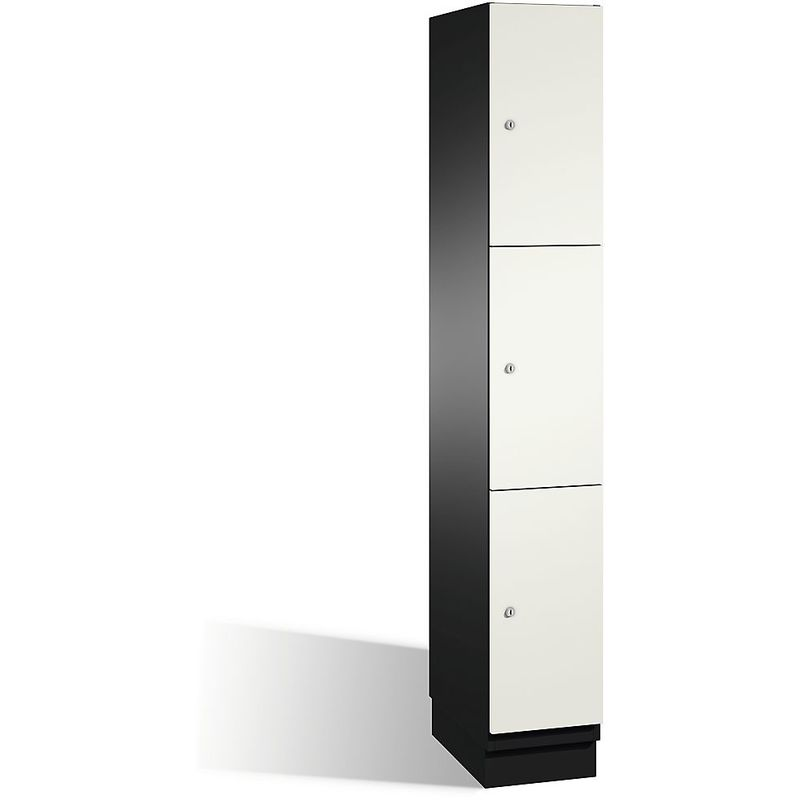 Eurokraft - CP Armoire à casiers CAMBIO avec portes en acier - 3 casiers, largeur 300 mm - corps gris noir/porte blanc pur - Coloris corps: noir-gris