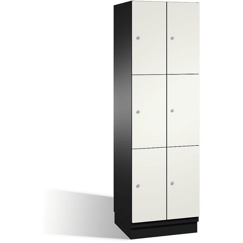 CP Armoire à casiers CAMBIO avec portes en acier - 6 casiers, largeur 600 mm - corps gris noir/porte blanc pur - Coloris corps: noir-gris RAL 7021