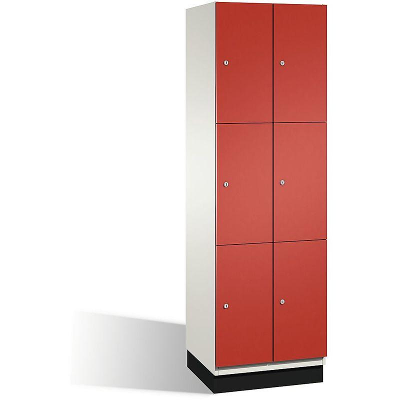 Eurokraft - CP Armoire à casiers CAMBIO avec portes en acier - 6 casiers, largeur 600 mm - corps blanc pur/porte rouge feu - Coloris corps: blanc pur