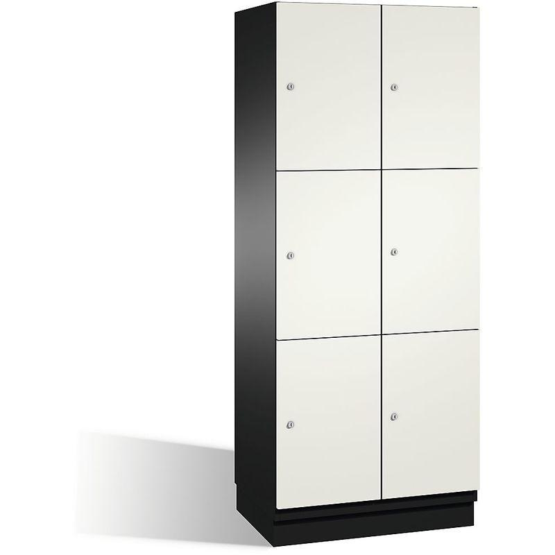 Eurokraft - CP Armoire à casiers CAMBIO avec portes en acier - 6 casiers, largeur 800 mm - corps gris noir/porte blanc pur - Coloris corps: noir-gris
