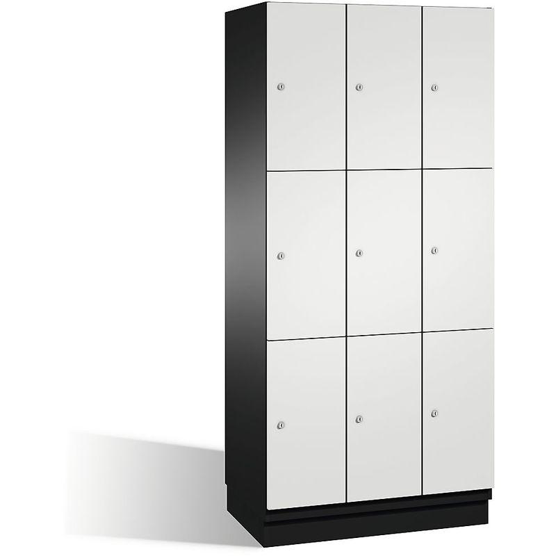Eurokraft - CP Armoire à casiers CAMBIO avec portes en acier - 9 casiers, largeur 900 mm - corps gris noir/porte blanc pur - Coloris corps: noir-gris