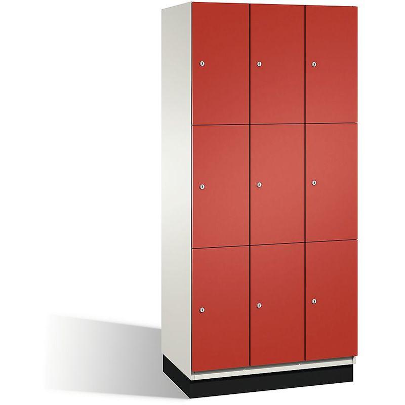Eurokraft - CP Armoire à casiers CAMBIO avec portes en acier - 9 casiers, largeur 900 mm - corps blanc pur/porte rouge feu - Coloris corps: blanc pur