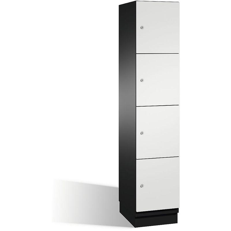 CP Armoire à casiers CAMBIO avec portes en acier - 4 casiers, largeur 400 mm - corps gris noir/porte gris clair - Coloris corps: noir-gris RAL 7021