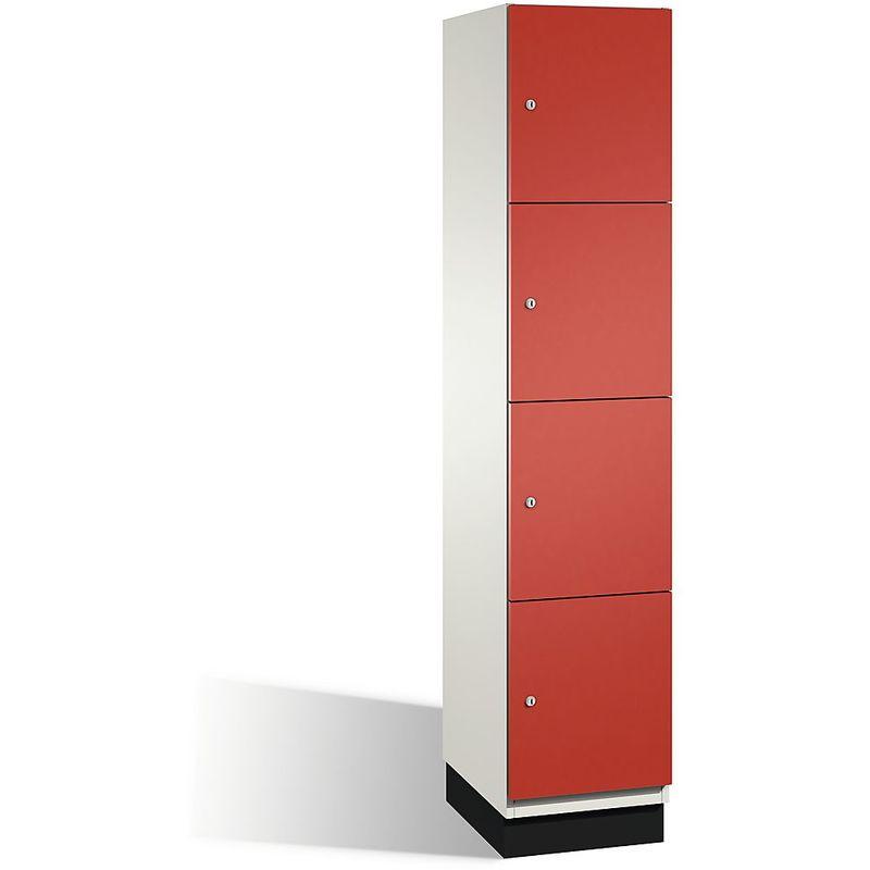Eurokraft - CP Armoire à casiers CAMBIO avec portes en acier - 4 casiers, largeur 400 mm - corps blanc pur/porte rouge feu - Coloris corps: blanc pur