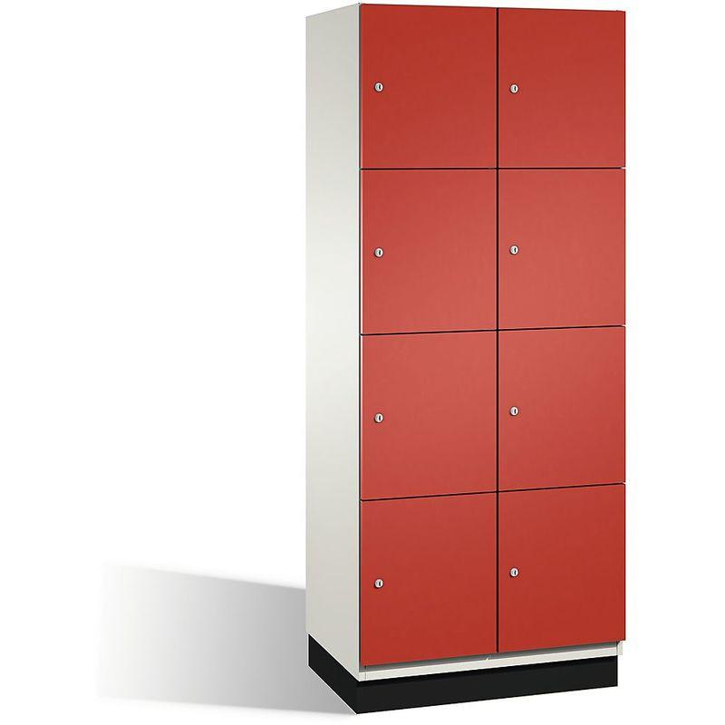 Eurokraft - CP Armoire à casiers CAMBIO avec portes en acier - 8 casiers, largeur 800 mm - corps blanc pur/porte rouge feu - Coloris corps: blanc pur