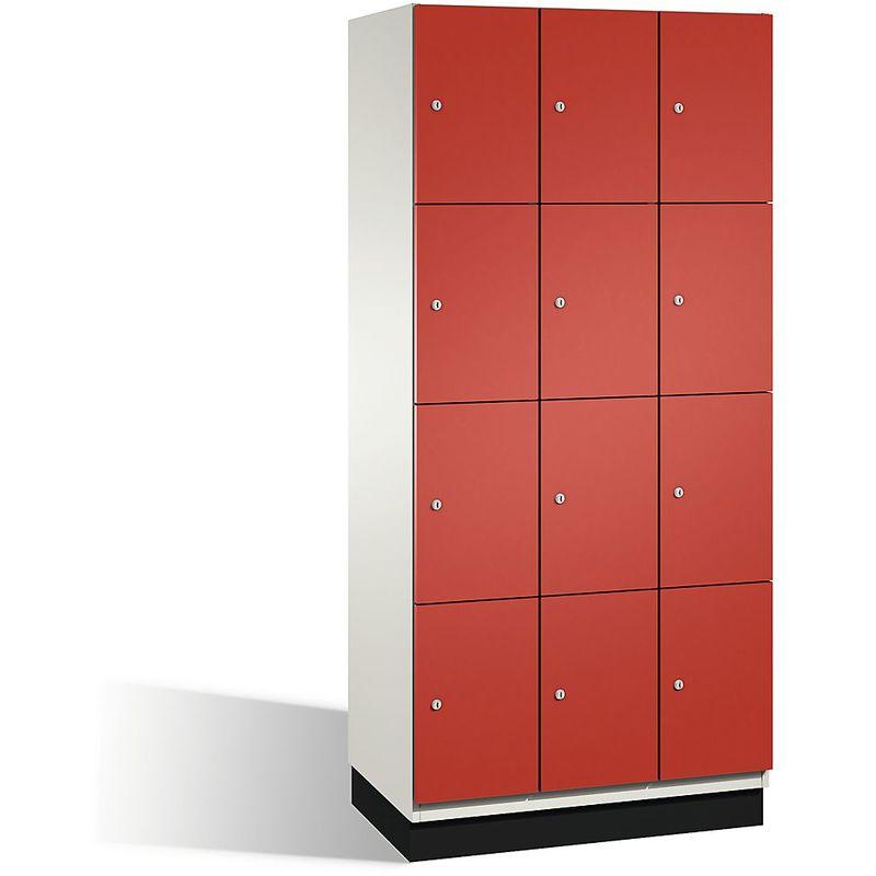 Eurokraft - CP Armoire à casiers CAMBIO avec portes en acier - 12 casiers, largeur 900 mm - corps blanc pur/porte rouge feu - Coloris corps: blanc