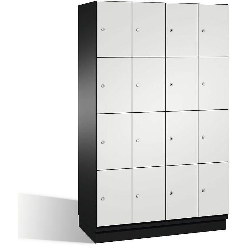 Eurokraft - CP Armoire à casiers CAMBIO avec portes en acier - 16 casiers, largeur 1200 mm - corps gris noir/porte gris clair - Coloris corps: