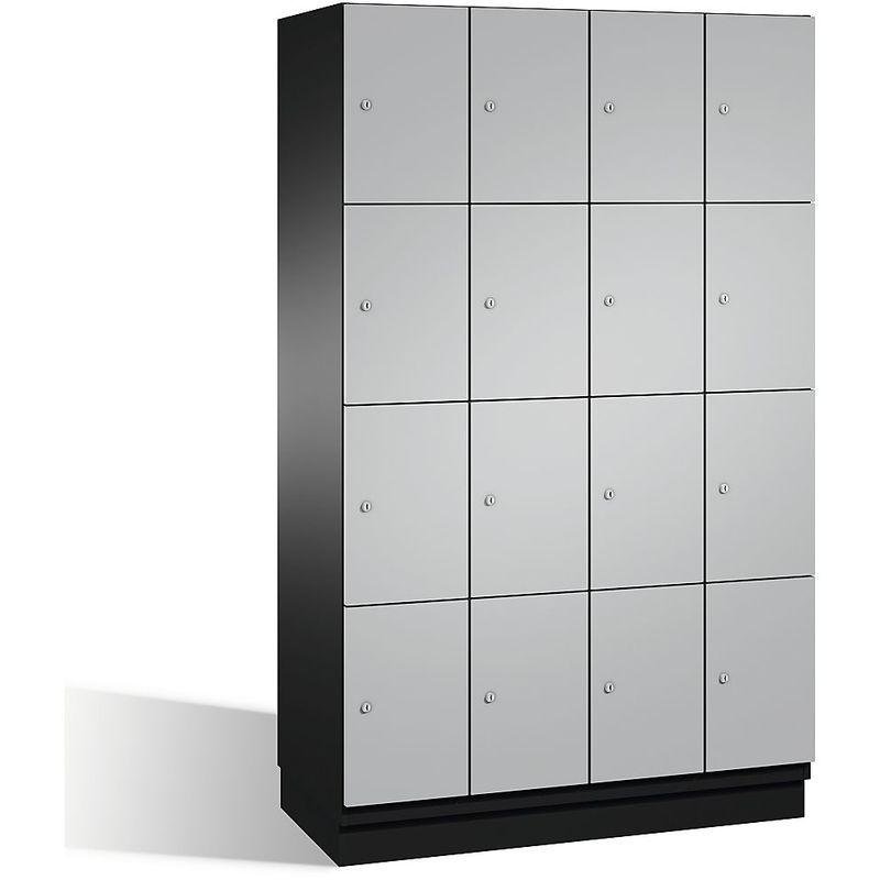 Eurokraft - CP Armoire à casiers CAMBIO avec portes en acier - 16 casiers, largeur 1200 mm - corps gris noir/porte aluminium - Coloris corps: