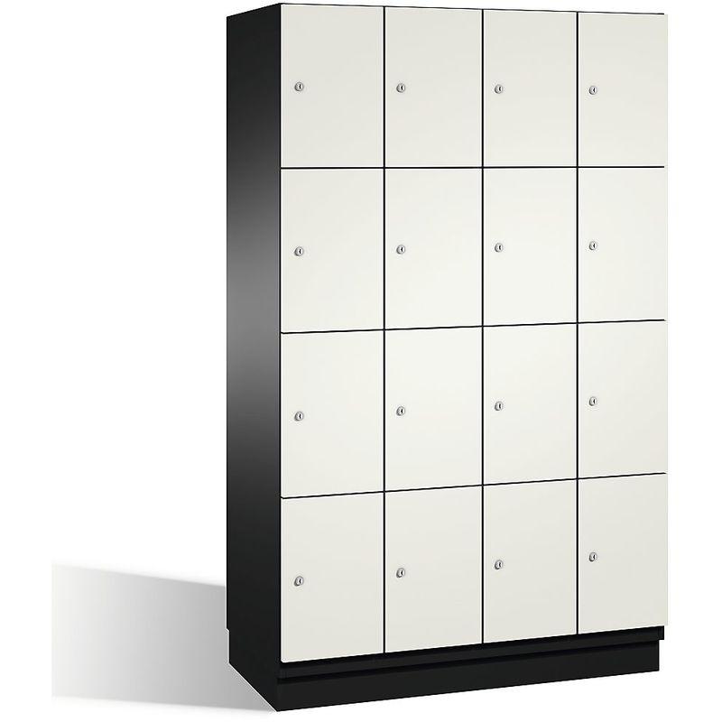 Eurokraft - CP Armoire à casiers CAMBIO avec portes en acier - 16 casiers, largeur 1200 mm - corps gris noir/porte blanc pur - Coloris corps: