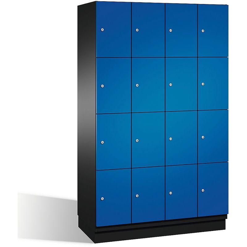 Eurokraft - CP Armoire à casiers CAMBIO avec portes en acier - 16 casiers, largeur 1200 mm - corps gris noir/porte bleu gentiane - Coloris corps: