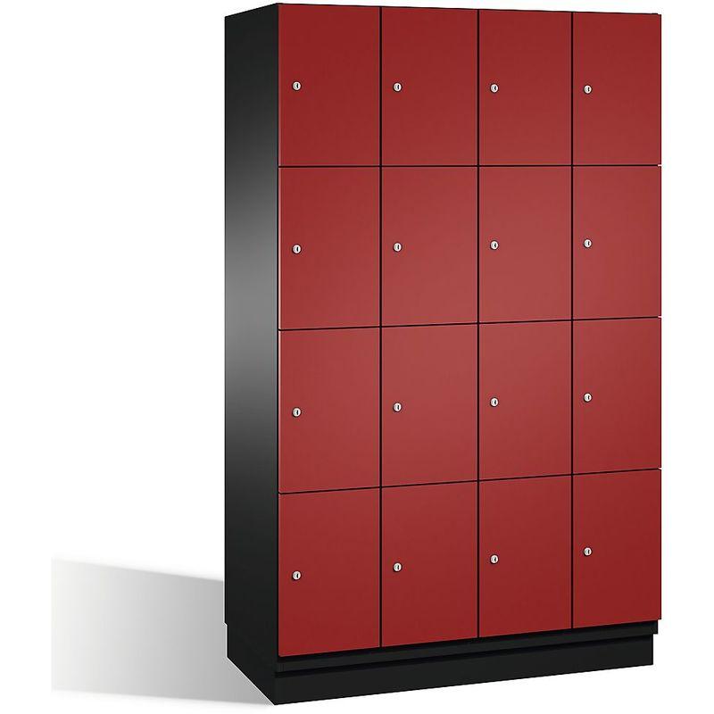 Eurokraft - CP Armoire à casiers CAMBIO avec portes en acier - 16 casiers, largeur 1200 mm - corps gris noir/porte rouge rubis - Coloris corps:
