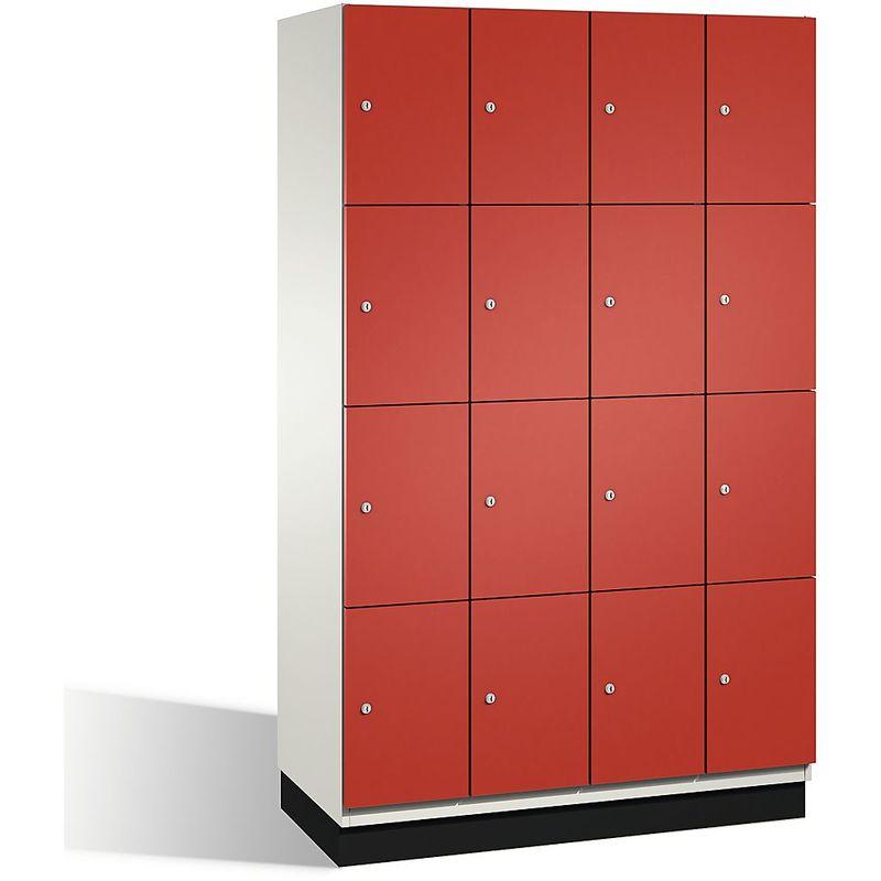 Eurokraft - CP Armoire à casiers CAMBIO avec portes en acier - 16 casiers, largeur 1200 mm - corps blanc pur/porte rouge feu - Coloris corps: blanc