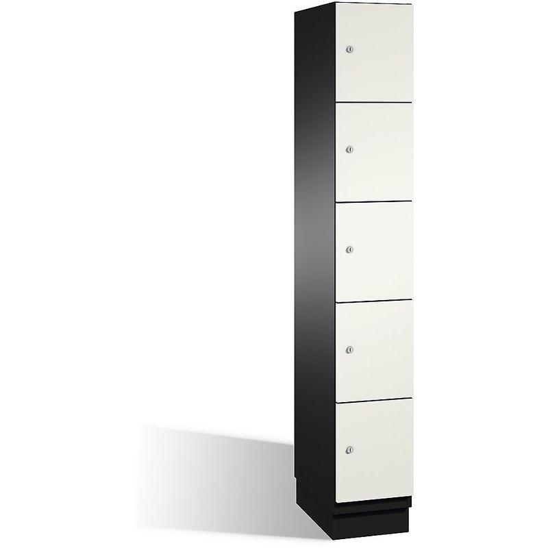 Eurokraft - CP Armoire à casiers CAMBIO avec portes en acier - 5 casiers, largeur 300 mm - corps gris noir/porte blanc pur - Coloris corps: noir-gris