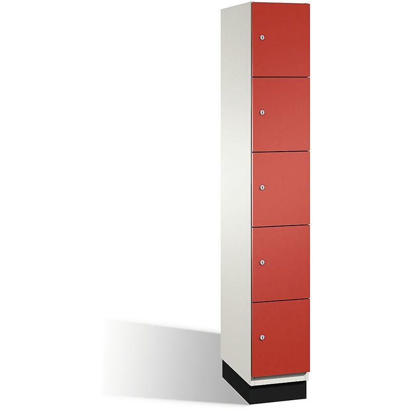 Eurokraft - CP Armoire à casiers CAMBIO avec portes en acier - 5 casiers, largeur 300 mm - corps blanc pur/porte rouge feu - Coloris corps: blanc pur