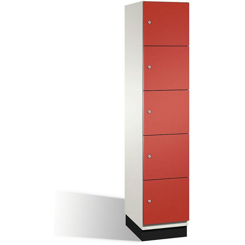 Eurokraft - CP Armoire à casiers CAMBIO avec portes en acier - 5 casiers, largeur 400 mm - corps blanc pur/porte rouge feu - Coloris corps: blanc pur