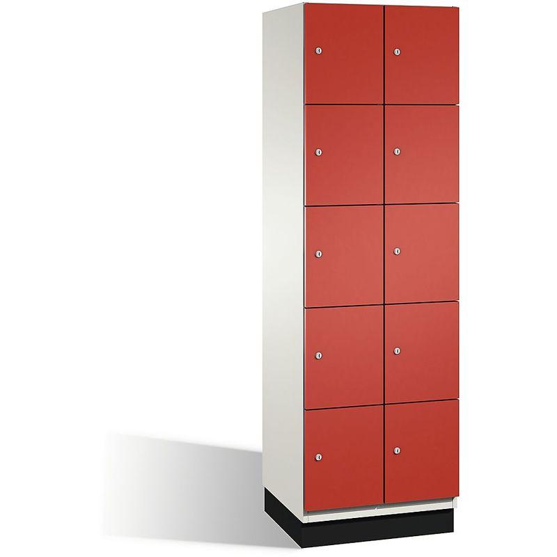 Eurokraft - CP Armoire à casiers CAMBIO avec portes en acier - 10 casiers, largeur 600 mm - corps blanc pur/porte rouge feu - Coloris corps: blanc