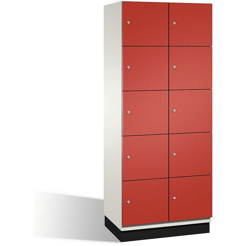 Eurokraft - CP Armoire à casiers CAMBIO avec portes en acier - 10 casiers, largeur 800 mm - corps blanc pur/porte rouge feu - Coloris corps: blanc