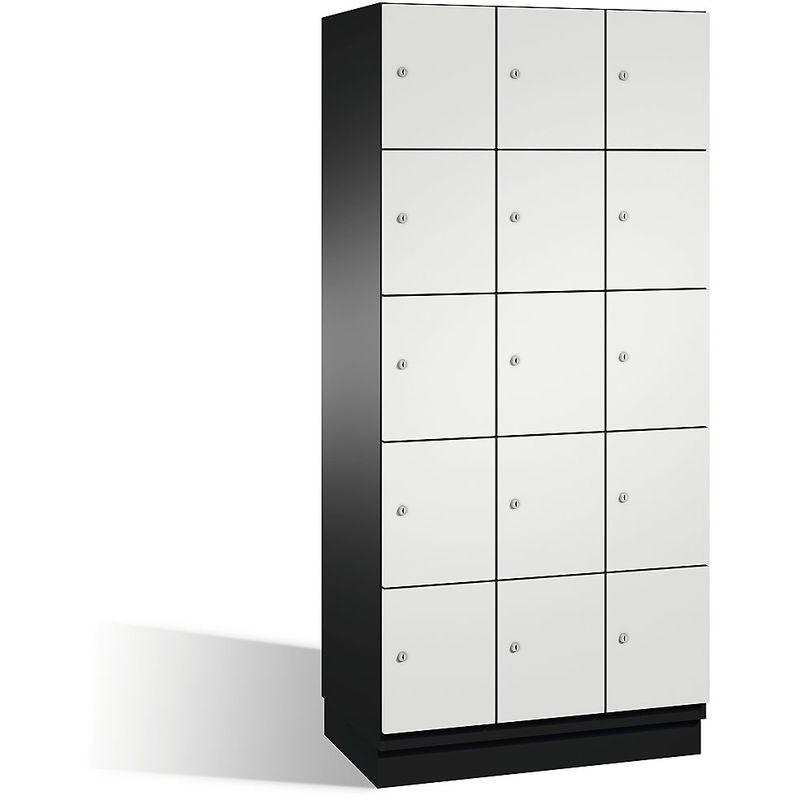 Eurokraft - CP Armoire à casiers CAMBIO avec portes en acier - 15 casiers, largeur 900 mm - corps gris noir/porte gris clair - Coloris corps: