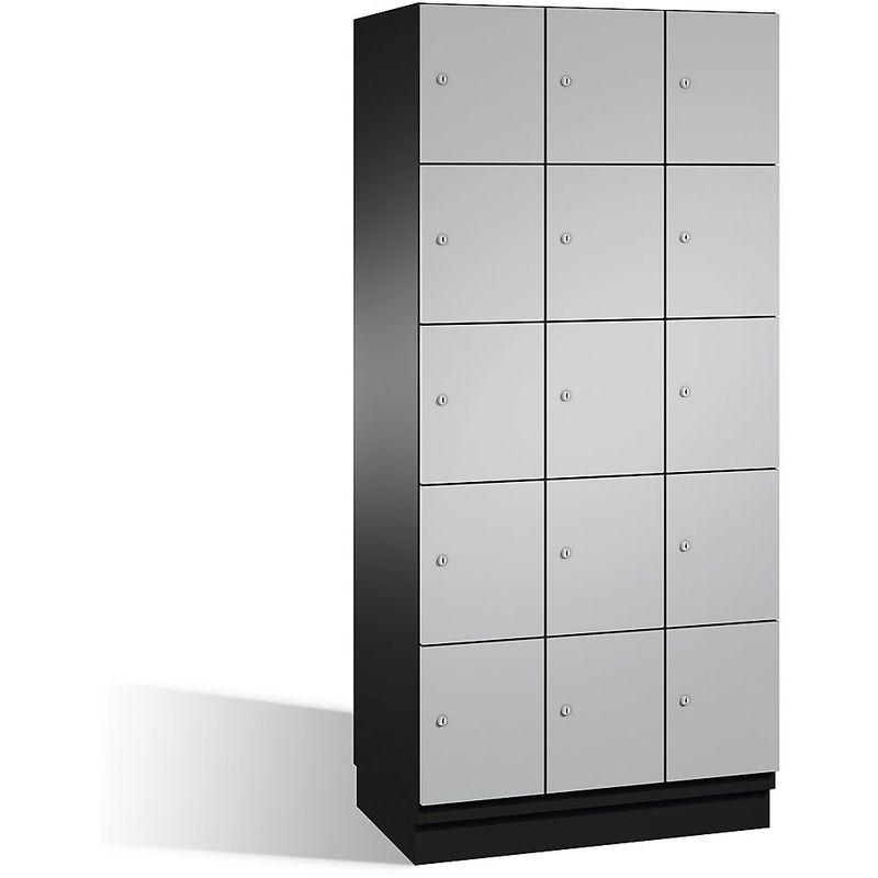 Eurokraft - CP Armoire à casiers CAMBIO avec portes en acier - 15 casiers, largeur 900 mm - corps gris noir/porte aluminium - Coloris corps: