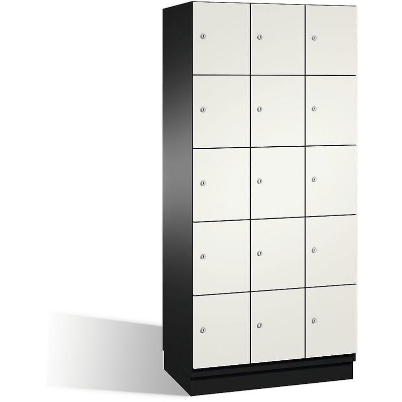 CP Armoire à casiers CAMBIO avec portes en acier - 15 casiers, largeur 900 mm - corps gris noir/porte blanc pur - Coloris corps: noir-gris RAL 7021