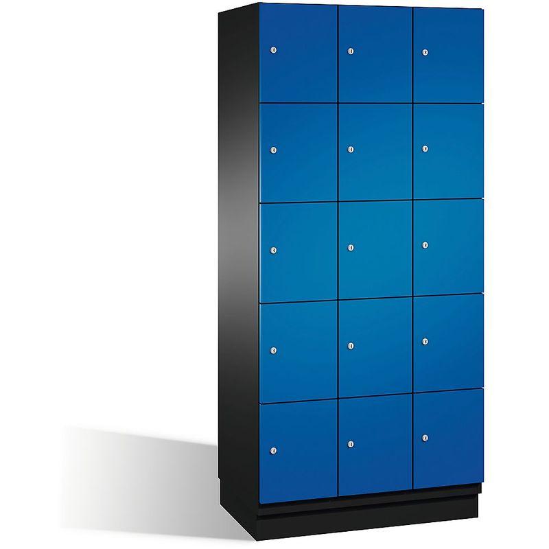 CP Armoire à casiers CAMBIO avec portes en acier - 15 casiers, largeur 900 mm - corps gris noir/porte bleu gentiane - Coloris corps: noir-gris RAL