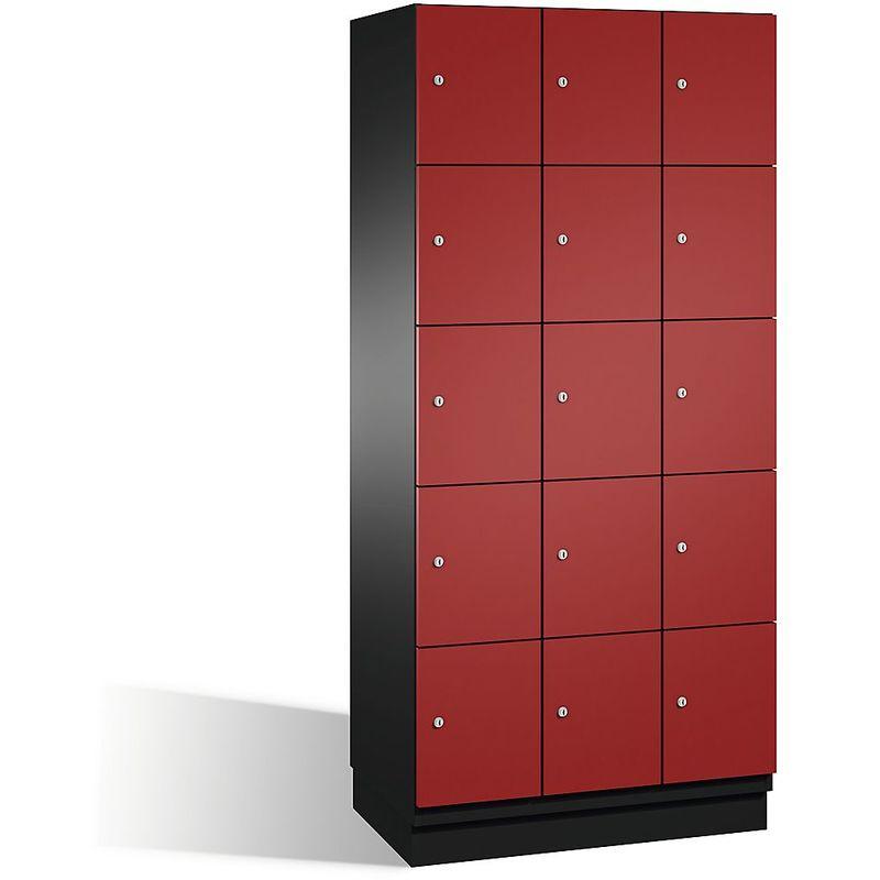 Eurokraft - CP Armoire à casiers CAMBIO avec portes en acier - 15 casiers, largeur 900 mm - corps gris noir/porte rouge rubis - Coloris corps: