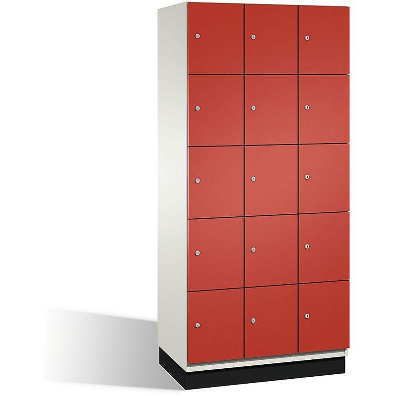 Eurokraft - CP Armoire à casiers CAMBIO avec portes en acier - 15 casiers, largeur 900 mm - corps blanc pur/porte rouge feu - Coloris corps: blanc