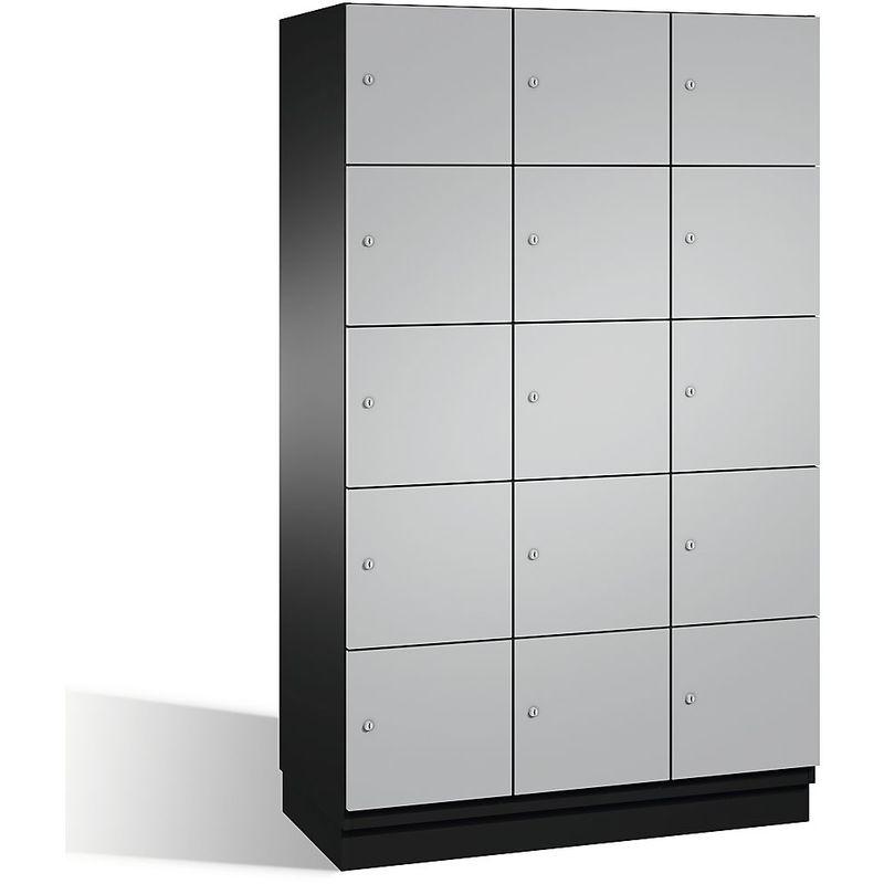 Eurokraft - CP Armoire à casiers CAMBIO avec portes en acier - 15 casiers, largeur 1200 mm - corps gris noir/porte aluminium - Coloris corps: