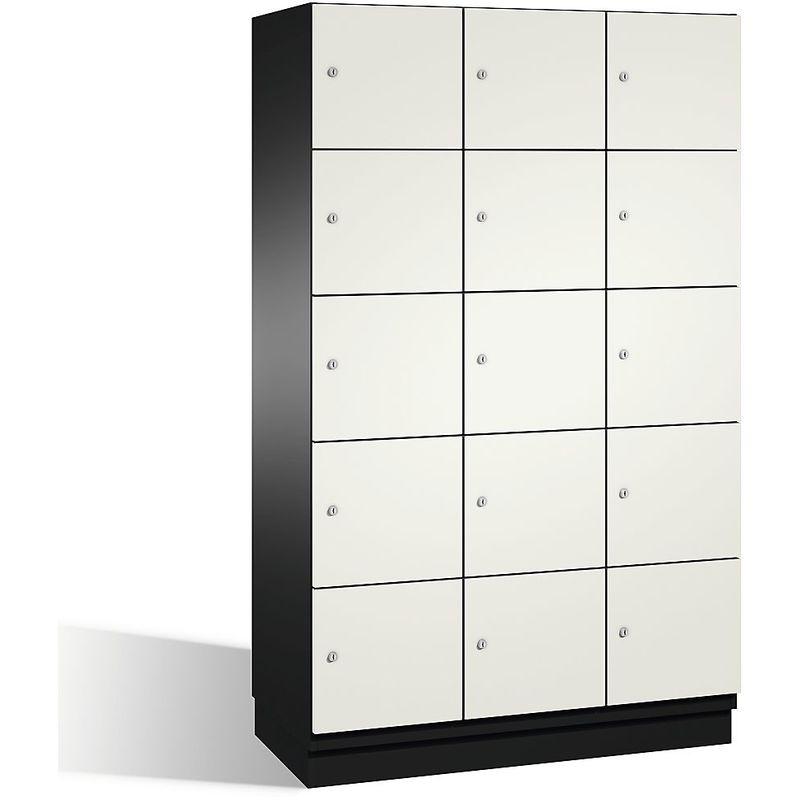 Eurokraft - CP Armoire à casiers CAMBIO avec portes en acier - 15 casiers, largeur 1200 mm - corps gris noir/porte blanc pur - Coloris corps: