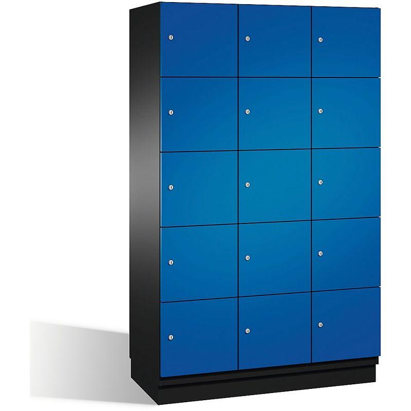 Eurokraft - CP Armoire à casiers CAMBIO avec portes en acier - 15 casiers, largeur 1200 mm - corps gris noir/porte bleu gentiane - Coloris corps: