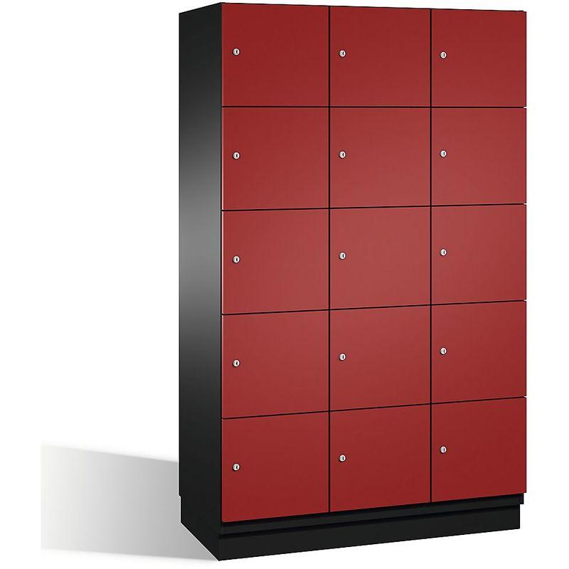 Eurokraft - CP Armoire à casiers CAMBIO avec portes en acier - 15 casiers, largeur 1200 mm - corps gris noir/porte rouge rubis - Coloris corps: