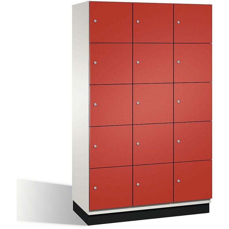 Eurokraft - CP Armoire à casiers CAMBIO avec portes en acier - 15 casiers, largeur 1200 mm - corps blanc pur/porte rouge feu - Coloris corps: blanc